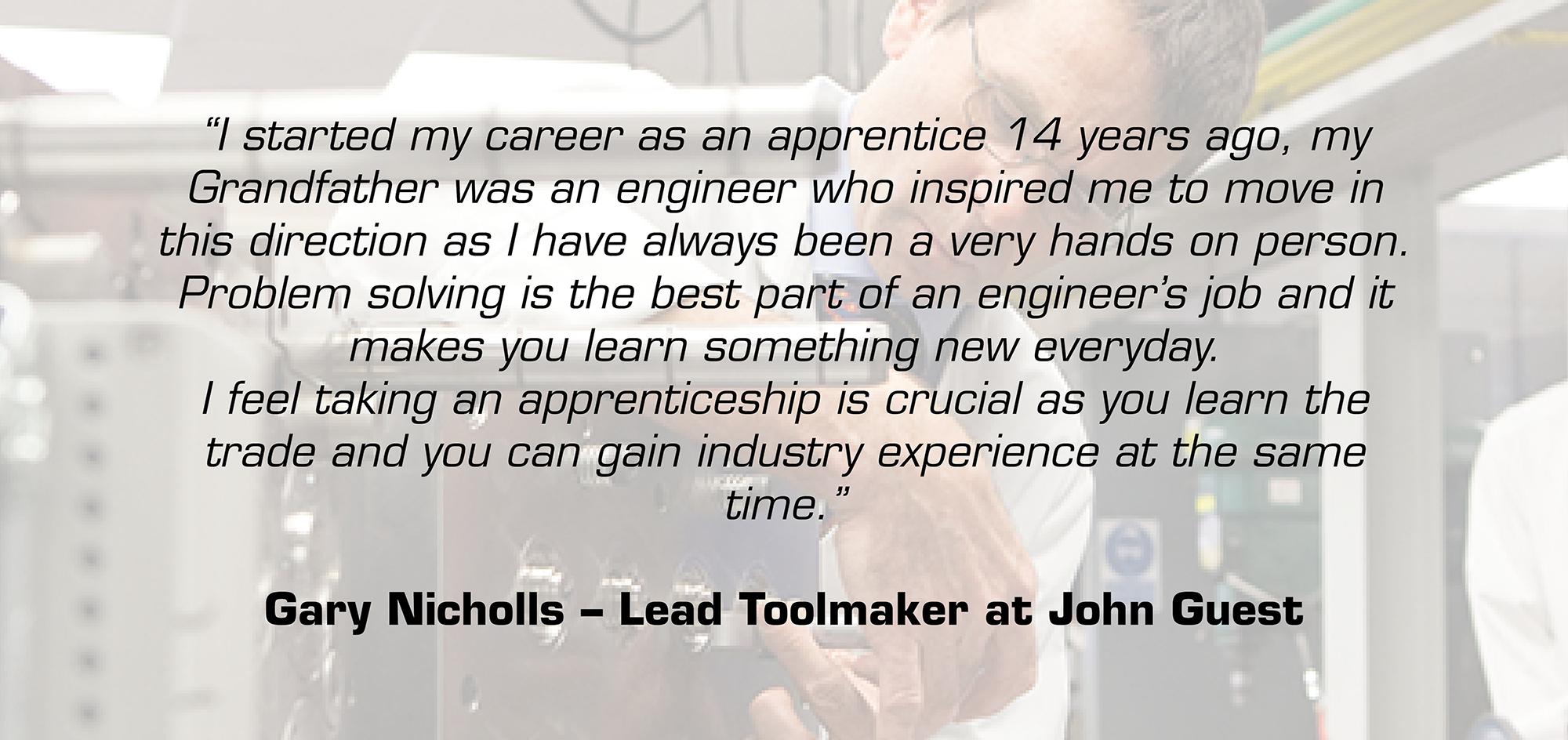 Gary Nichols apprentice quote