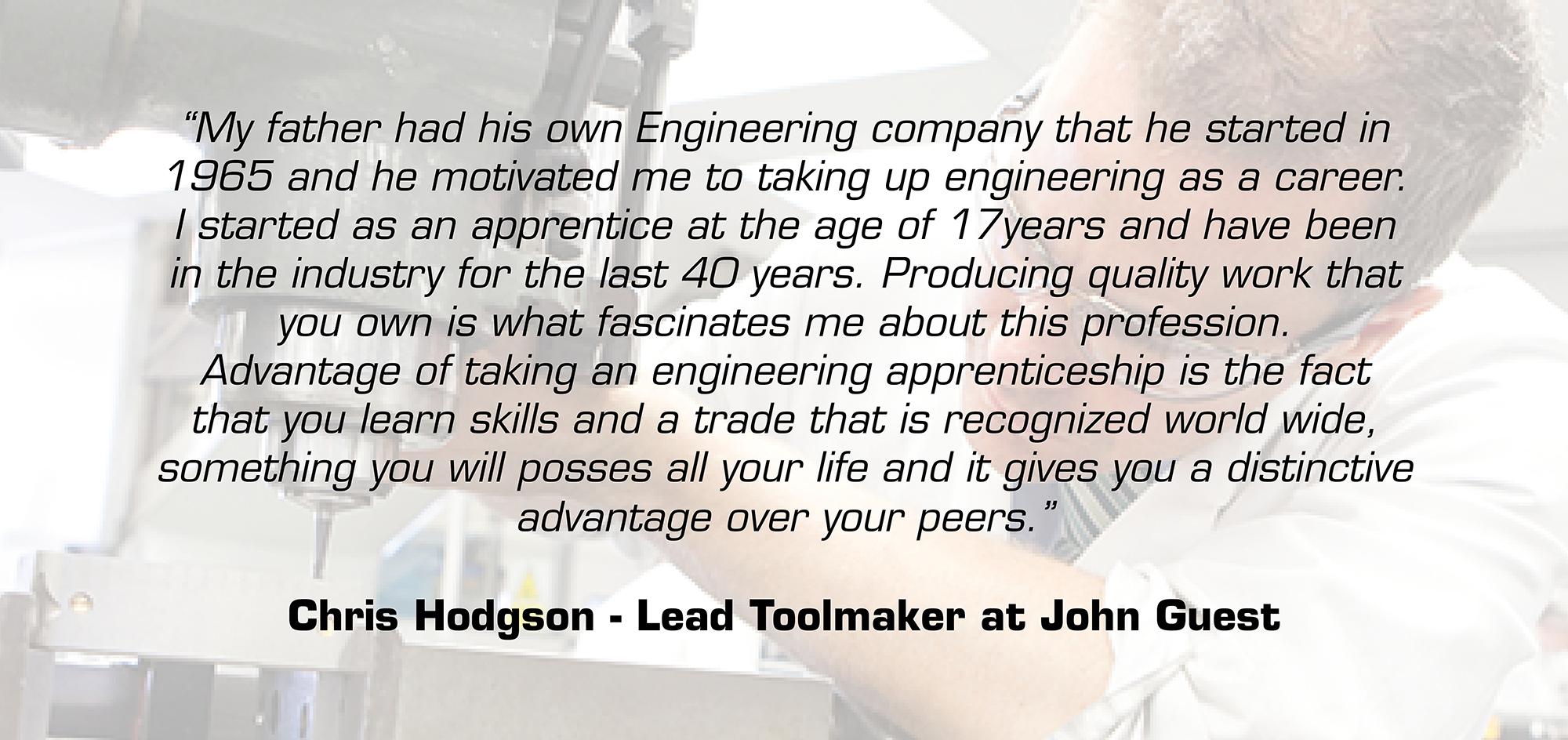 Chris Hodges apprentice quote