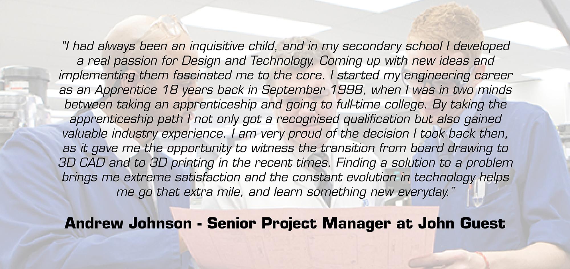 Andrew Johnson apprentice testimonial