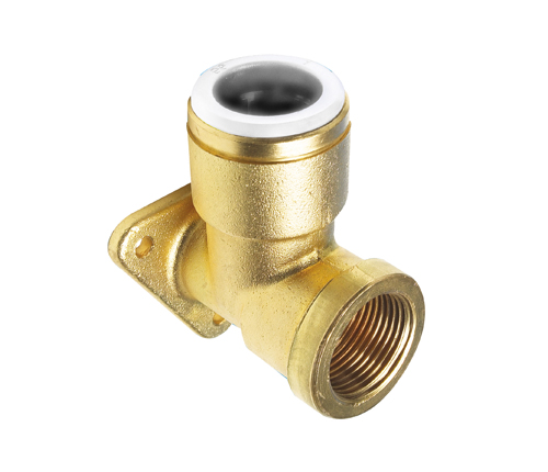 Push-fit Brass Back Plate Elbow
