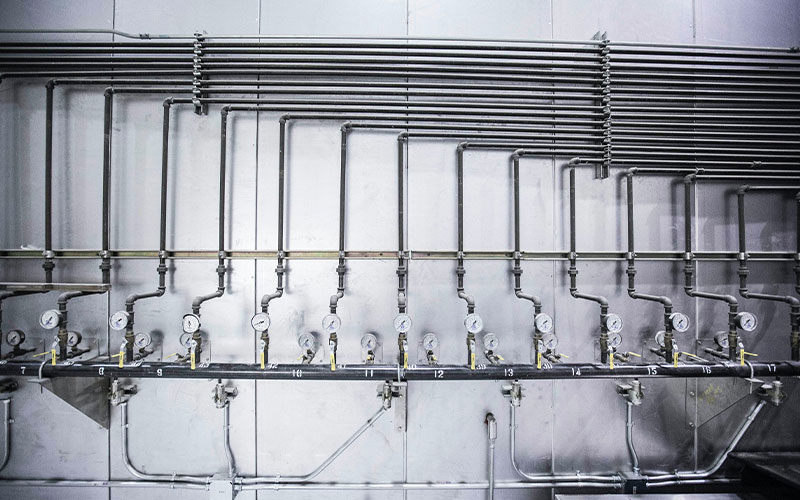 Exposed pipework with valves