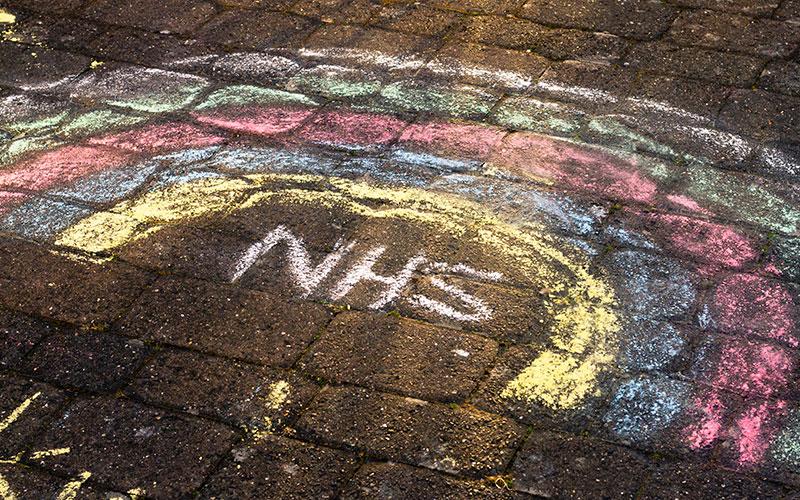 Thank You NHS Chalk Rainbow drawn on pavement