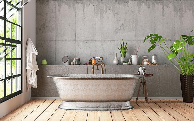 Bathtub in the loft interior modern bathroom
